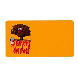 Thanksgiving Turkije - in ALLES geef Bedankt Etiket
