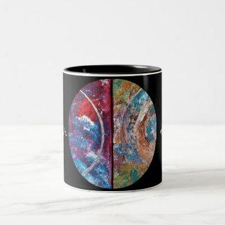 'The circle of life-Art' Tweekleurige Koffiemok