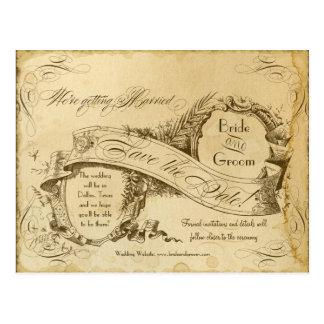 Thee Bevlekt Vintage Huwelijk 1 - sparen de Data Briefkaart