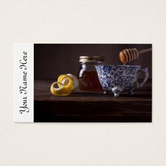 Thee met citroen en honing visitekaartjes