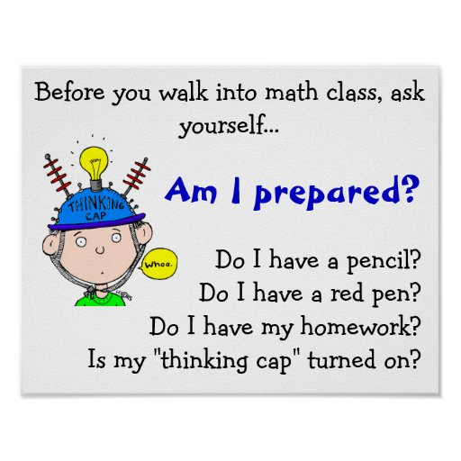 thinking-cap.gif, alvorens u in wiskundecla… poster
