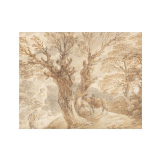 Thomas Gainsborough - Bebost Landschap met Boer Canvas Afdruk