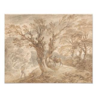 Thomas Gainsborough - Bebost Landschap met Boer Foto