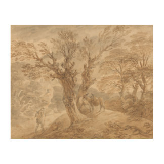 Thomas Gainsborough - Bebost Landschap met Boer Foto Op Hout