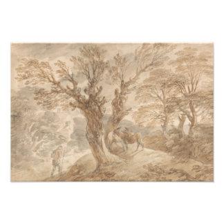 Thomas Gainsborough - Bebost Landschap met Boer Foto Prints
