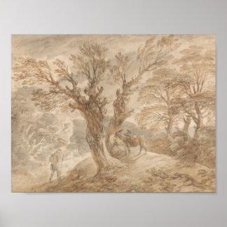 Thomas Gainsborough - Bebost Landschap met Boer Poster