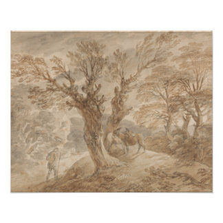 Thomas Gainsborough - Bebost Landschap met Boer Poster