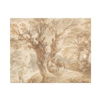 Thomas Gainsborough - Bebost Landschap met Boer Stretched Canvas Afdrukken