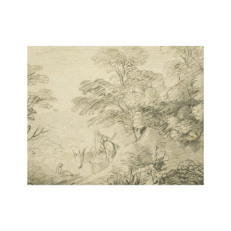 Thomas Gainsborough - Bebost Landschap met Ezel Canvas Prints