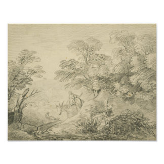 Thomas Gainsborough - Bebost Landschap met Ezel Foto Print