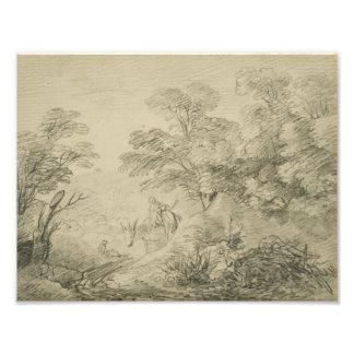 Thomas Gainsborough - Bebost Landschap met Ezel Fotoafdruk