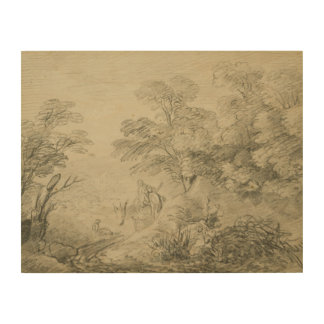 Thomas Gainsborough - Bebost Landschap met Ezel Houten Canvas Print
