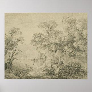 Thomas Gainsborough - Bebost Landschap met Ezel Poster