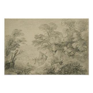 Thomas Gainsborough - Bebost Landschap met Ezel Poster