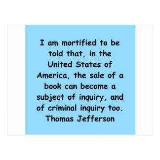 Thomas jefferson citeert briefkaart