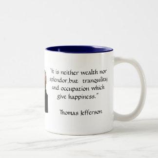Thomas Jefferson - het citaat van het Geluk Tweekleurige Koffiemok