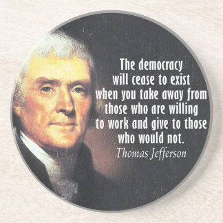 Thomas Jefferson Quote op Collectivisme Zandsteen Onderzetter