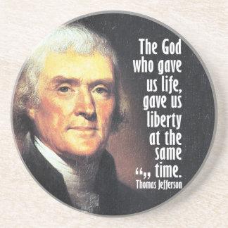 Thomas Jefferson Quote op God en Vrijheid Zandsteen Onderzetter