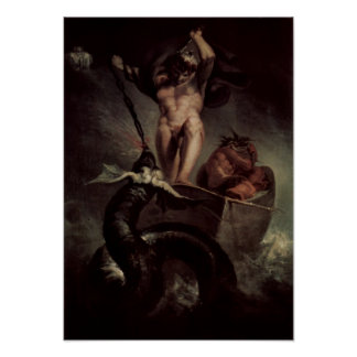 Thor die het Serpent Midgard slaan Poster
