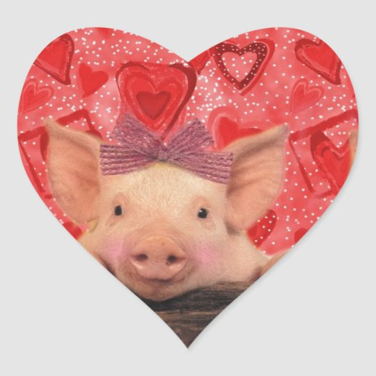 Three lovely valentine pigs hart sticker