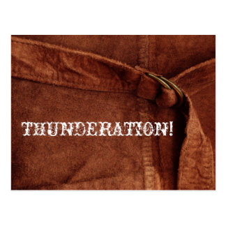 THUNDERATION! oud-timey witte tekst op de Foto van Briefkaart