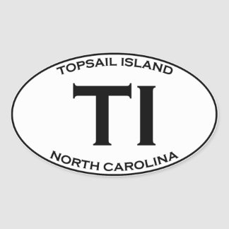 Ti - Topsail Eiland Noord-Carolina Ovale Sticker
