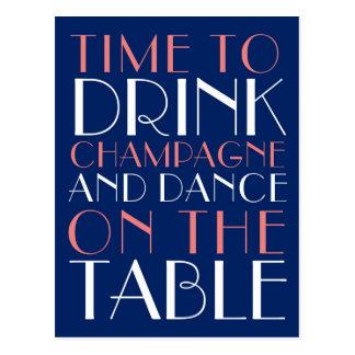 Tijd om Champagne en Dans op de Lijst te drink Briefkaart