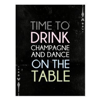 Tijd om Champagne te drink en te dansen - het Briefkaart