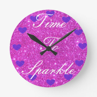 Tijd van Sparkly Glittery van Girly de Roze te Ronde Klok