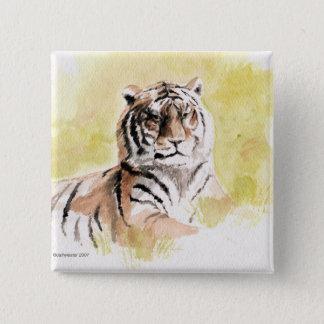 tijger vierkante button 5,1 cm