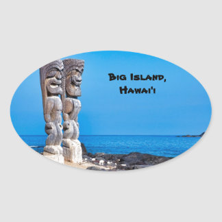 Tikis in Paradijs Ovale Sticker