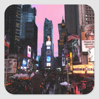 Times Square Vierkant Stickers