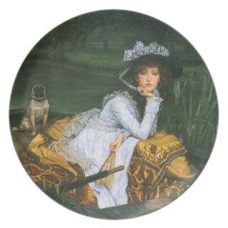 Tissot: Jonge Dame in een Boot Melamine+bord