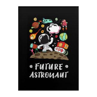 Toekomstige Astronaut, Ruimte, Planeten, Raket. Acryl Afdrukken