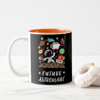 Toekomstige Astronaut, Ruimte, Planeten, Raket. Tweekleurige Koffiemok