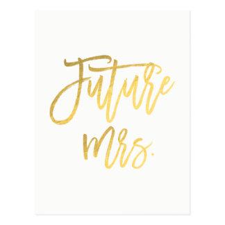 Toekomstige Mevr. Faux Gold Foil Modern bewaart de Briefkaart