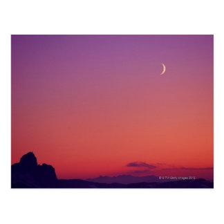 Toenemende Maan bij Schemer Briefkaart