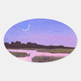 Toenemende Maan & Reiger in het Moeras van de Ovale Sticker