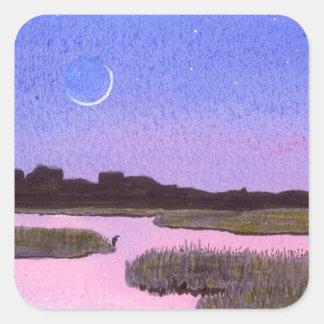Toenemende Maan & Reiger in het Moeras van de Vierkante Sticker