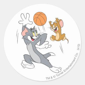 Tom en Jerry Basketball 1 Ronde Sticker