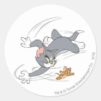 Tom en Jerry Chase Turn Ronde Sticker