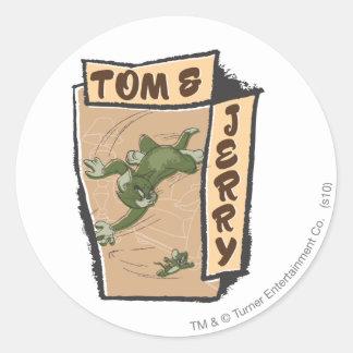 Tom en Jerry op een Tan Laag Ronde Stickers