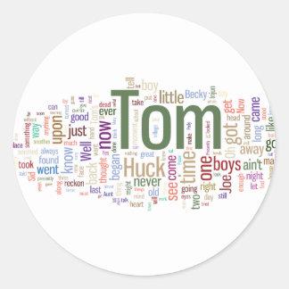 Tom Sawyer Word Cloud Ronde Sticker