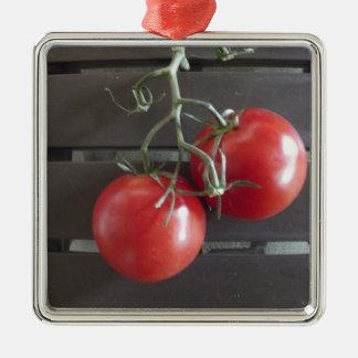 Tomaten Zilverkleurig Vierkant Ornament