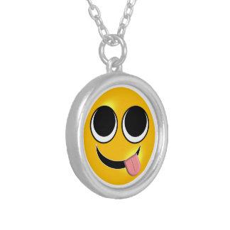 Tong uit Emoji Zilver Vergulden Ketting