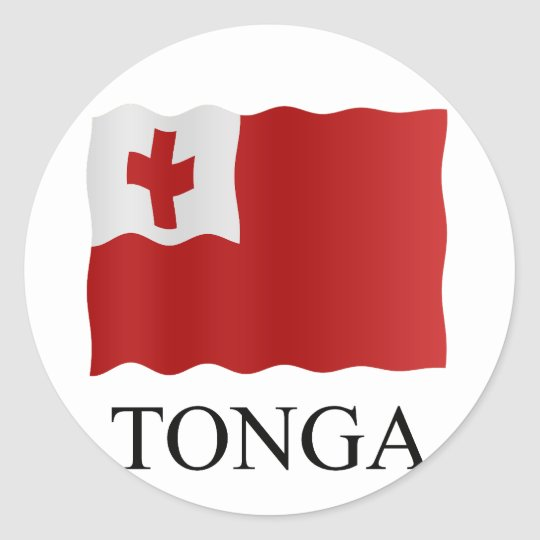 Tonga flag ronde sticker