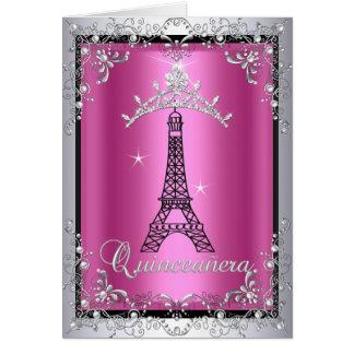 Toren van Eiffel van de Tiara van Quinceanera van Wenskaart