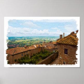 Toscanië. Italië. Cortona Poster