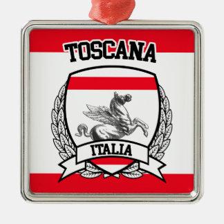 Toscanië Zilverkleurig Vierkant Ornament