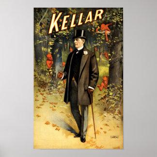 Tovenaar Harry Kellar in Bos met de wijnoogst van Poster